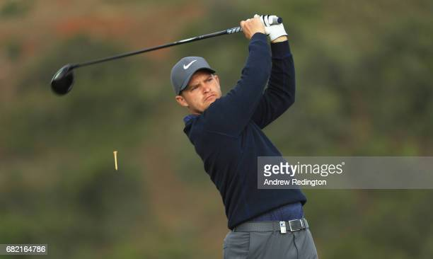 Tom Lewis of England tees off on the 9th hole during day two of the Open de Portugal at Morgado Golf Resort on May 12 2017 in Portimao Portugal
