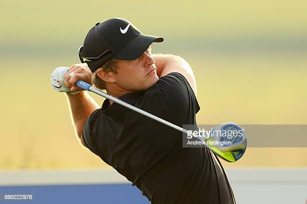 Tom Lewis of England tees off on the 9th hole during the first round of Made in Denmark at Himmerland Golf Spa Resort on August 25 2016 in Aalborg...