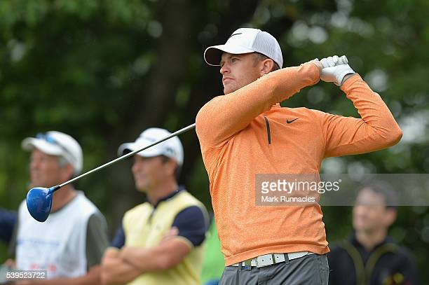 Tom Lewis of England tees on from the 4th tee during the final round of the Lyoness Open at Diamond Country Club on June 12 2016 in Atzenbrugg Austria
