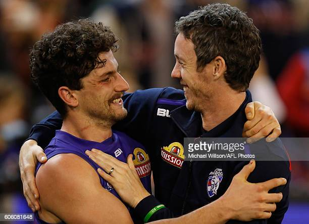 Tom Liberatore and Robert Murphy of the Bulldogs celebrate during the 2016 AFL Second Semi Final match between the Hawthorn Hawks and the Western...
