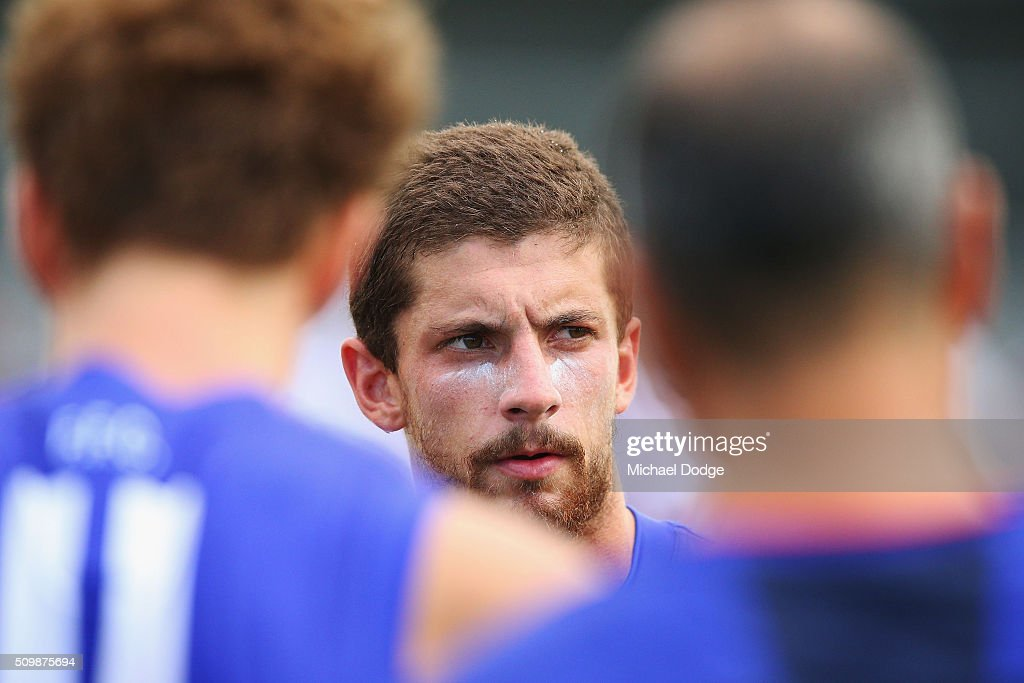 Tom Liberatore of the Bulldogs, making his comeback from a knee reconstuction, looks ahead at three quarter time during the Western Bulldogs AFL intra-club match at Whitten Oval on February 13, 2016 in Melbourne, Australia.