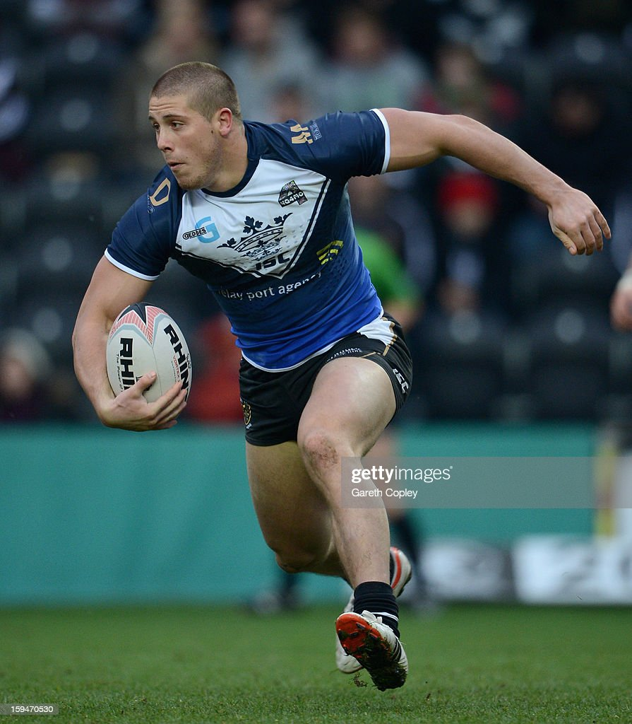 Tom Lineham of Hull FC during a pre-season friendly match between Hull FC and Castleford Tigers at The KC Stadium on January 13, 2013 in Hull, England.