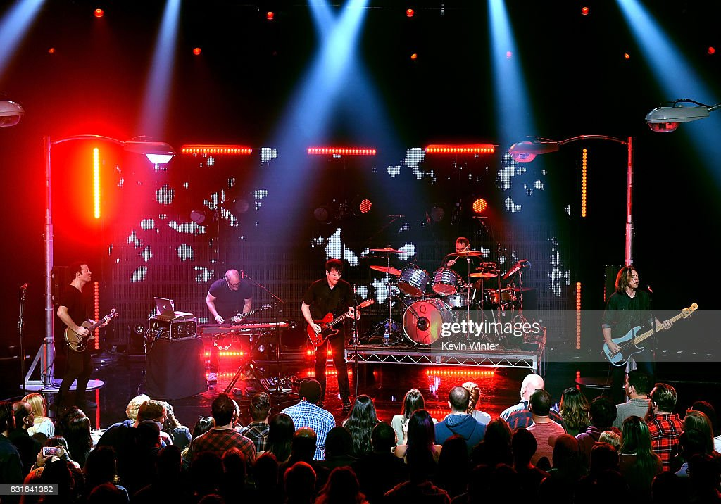 Tom Linton, Jim Adkins, Zach Lind and Rick Burch of Jimmy Eat World perform on stage at iHeartRadio LIVE at the iHeartRadio Theater on January 13, 2017 in Burbank, California.