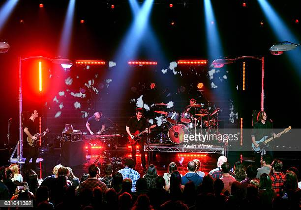 Tom Linton Jim Adkins Zach Lind and Rick Burch of Jimmy Eat World perform on stage at iHeartRadio LIVE at the iHeartRadio Theater on January 13 2017...