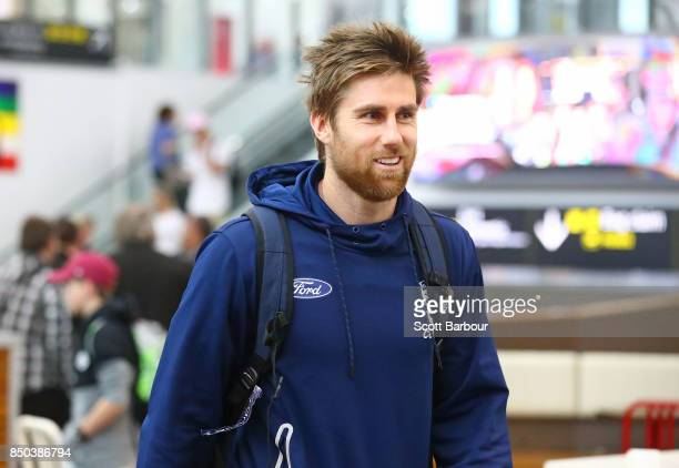Tom Lonergan of the Cats arrives to fly to Adelaide at Melbourne Airport on September 21 2017 in Melbourne Australia