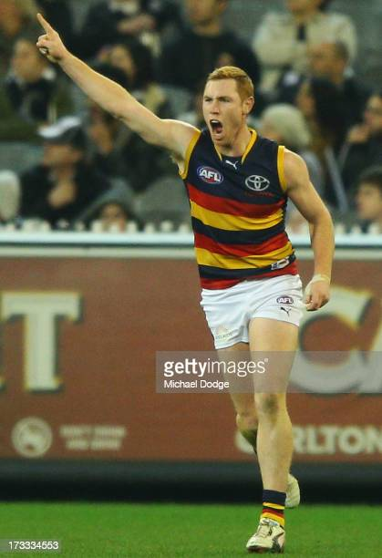 Tom Lynch of the Crows celebrates a goal during the round 16 AFL match between the Collingwood Magpies and the Adelaide Crows at Melbourne Cricket...