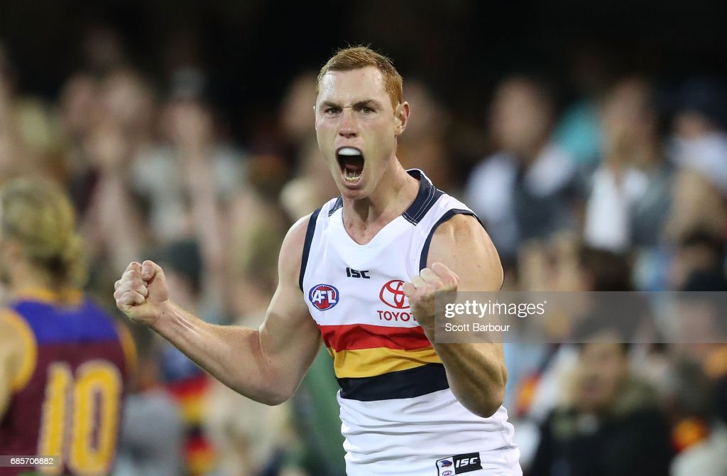 Tom Lynch of the Crows celebrates after kicking a goal during the round nine AFL match between the Brisbane Lions and the Adelaide Crows at The Gabba on May 20, 2017 in Brisbane, Australia.