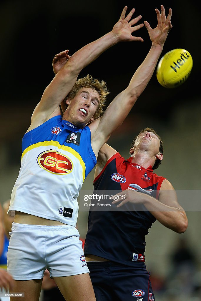 Tom Lynch of the Suns attempts to mark during the round seven AFL match between the Melbourne Demons and the Gold Coast Suns at Melbourne Cricket Ground on May 12, 2013 in Melbourne, Australia.