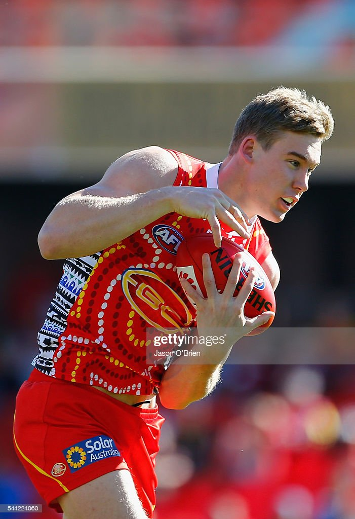 Tom Lynch of the suns takes a mark during the round 15 AFL match between the Gold Coast Suns and the St Kilda Saints at Metricon Stadium on July 2, 2016 in Gold Coast, Australia.
