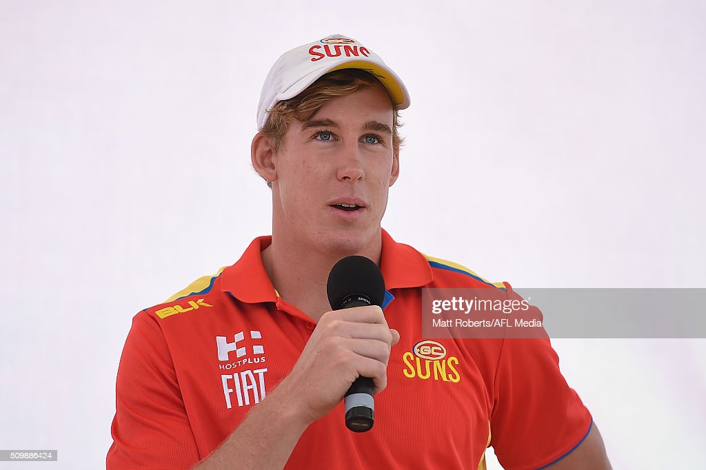 Tom Lynch speaks on stage during the Gold Coast Suns AFL open day at Metricon Stadium on February 13, 2016 on the Gold Coast, Australia.