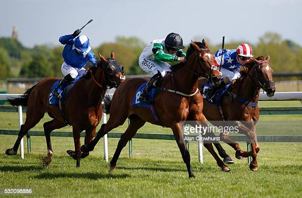 Tom Marquand riding Stynes win The Avon Valley Cleaning Handicap Stakes at Bath Racecourse on May 18 2016 in Bath England