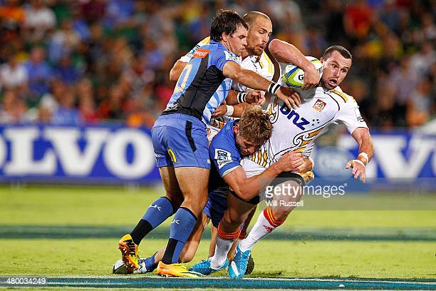 Tom Marshall of the Chiefs is tackled during the round six Super Rugby match between the Force and the Chiefs at nib Stadium on March 22 2014 in...