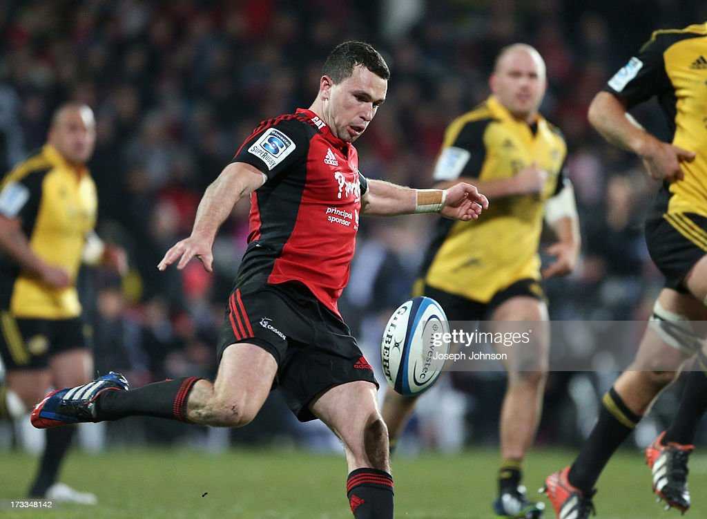 Tom Marshall of the Crusaders kicks the ball during the round 20 Super Rugby match between the Crusaders and the Hurricanes at AMI Stadium on July 12, 2013 in Christchurch, New Zealand.