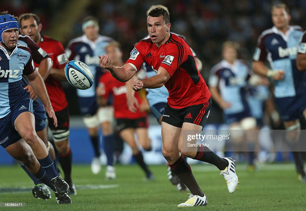 Tom Marshall of the Crusaders passes during the round 3 Super Rugby match between the Blues and the Crusaders at Eden Park on March 1, 2013 in Auckland, New Zealand.