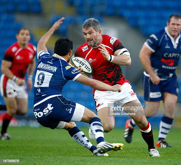 Tom May of London Welsh looks to attack during the Greene King IPA Championship match between London Welsh and Bristol Rugby at Kassam Stadium on...