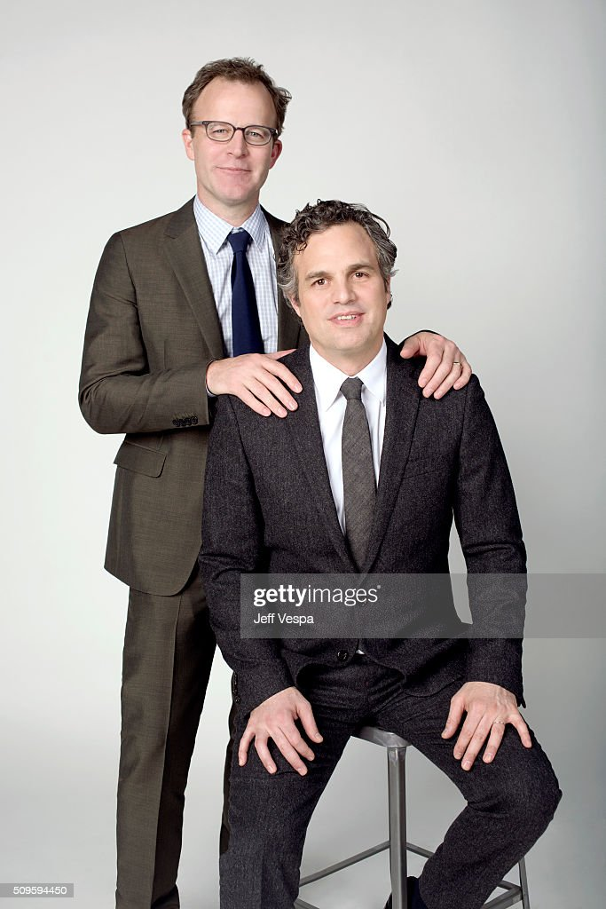 Tom McCarthy and <a gi-track='captionPersonalityLinkClicked' href=/galleries/search?phrase=Mark+Ruffalo&family=editorial&specificpeople=209317 ng-click='$event.stopPropagation()'>Mark Ruffalo</a> is photographed at the 2016 Oscar Luncheon for People.com on February 8, 2016 in Beverly Hills, California.