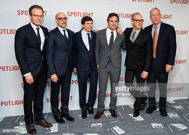 Tom McCarthy Stanley Tucci Mike Rezendes Mark Ruffalo Michael Keaton and Walter Robinson arrive for the UK Premiere of Spotlight at The Washington...