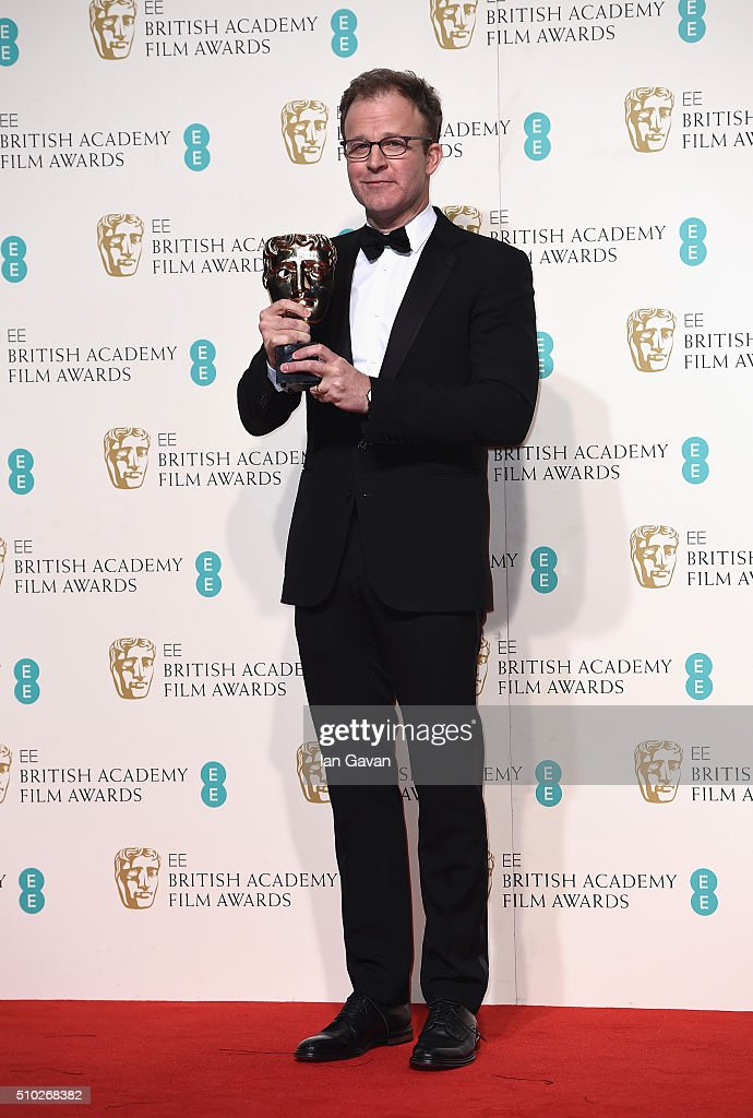 Tom McCarthy winner of Best Original Screenplay for 'Spotlight' poses in the winners room at the EE British Academy Film Awards at the Royal Opera House on February 14, 2016 in London, England.