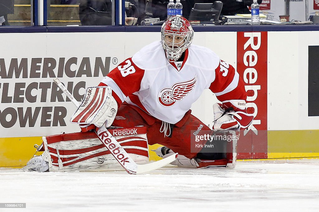 Tom McCollum #38 of the Detroit Red Wings warms up prior to the game against the Columbus Blue Jackets on January 21, 2013 at Nationwide Arena in Columbus, Ohio.