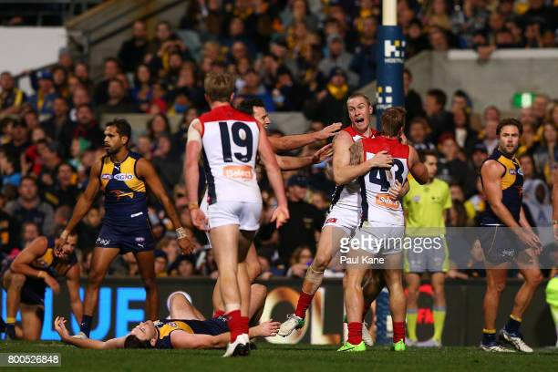 Tom McDonald of the Demons celebrates kicking a goal late in the final quarter during the round 14 AFL match between the West Coast Eagles and the...