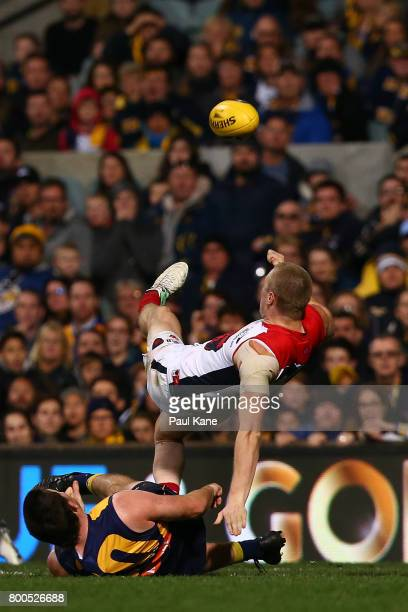 Tom McDonald of the Demons kicks the winniing goal during the round 14 AFL match between the West Coast Eagles and the Melbourne Demons at Domain...