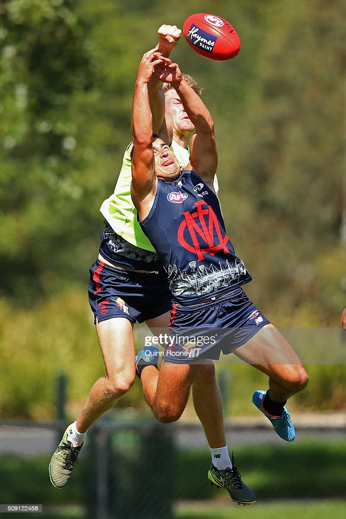 Tom McDonald of the Demons spoils a mark by <a gi-track='captionPersonalityLinkClicked' href=/galleries/search?phrase=Ben+Kennedy+-+Australian+Rules+Football+Player&family=editorial&specificpeople=15138187 ng-click='$event.stopPropagation()'>Ben Kennedy</a> during a Melbourne Demons AFL pre-season training session at Gosch's Paddock on February 9, 2016 in Melbourne, Australia.