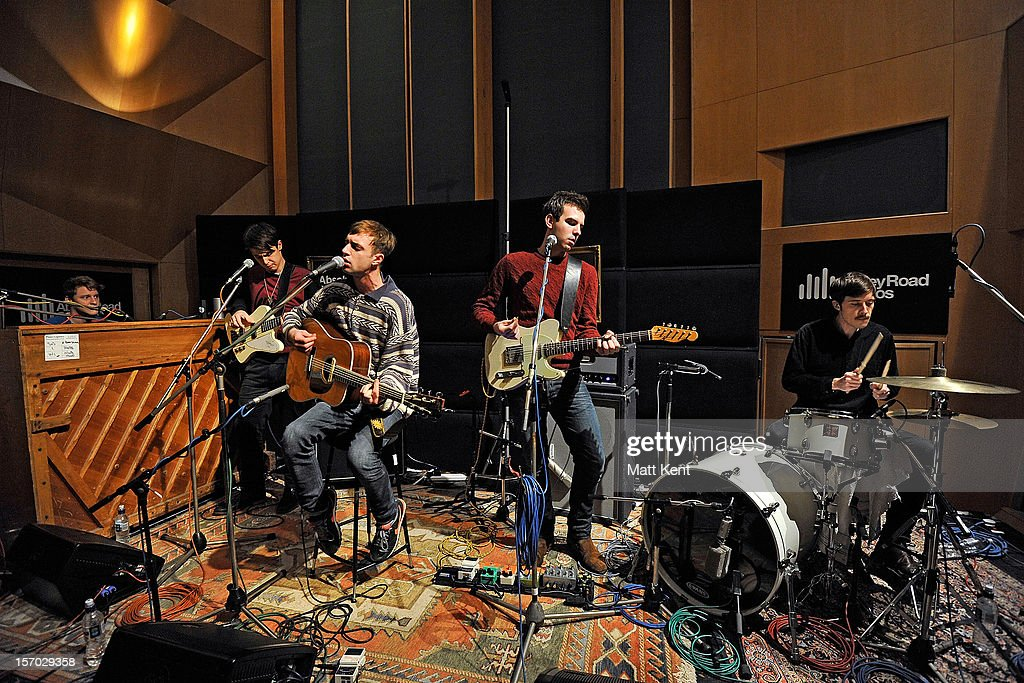 Tom McFarland, Joshua Lloyd-Watson, Arthur Delaney, Fraser MacColl and George Day of Born Blonde perform at the Acoustic Sessions with Absolute Radio for emerging artists at Abbey Road Studios on November 27, 2012 in London, England.