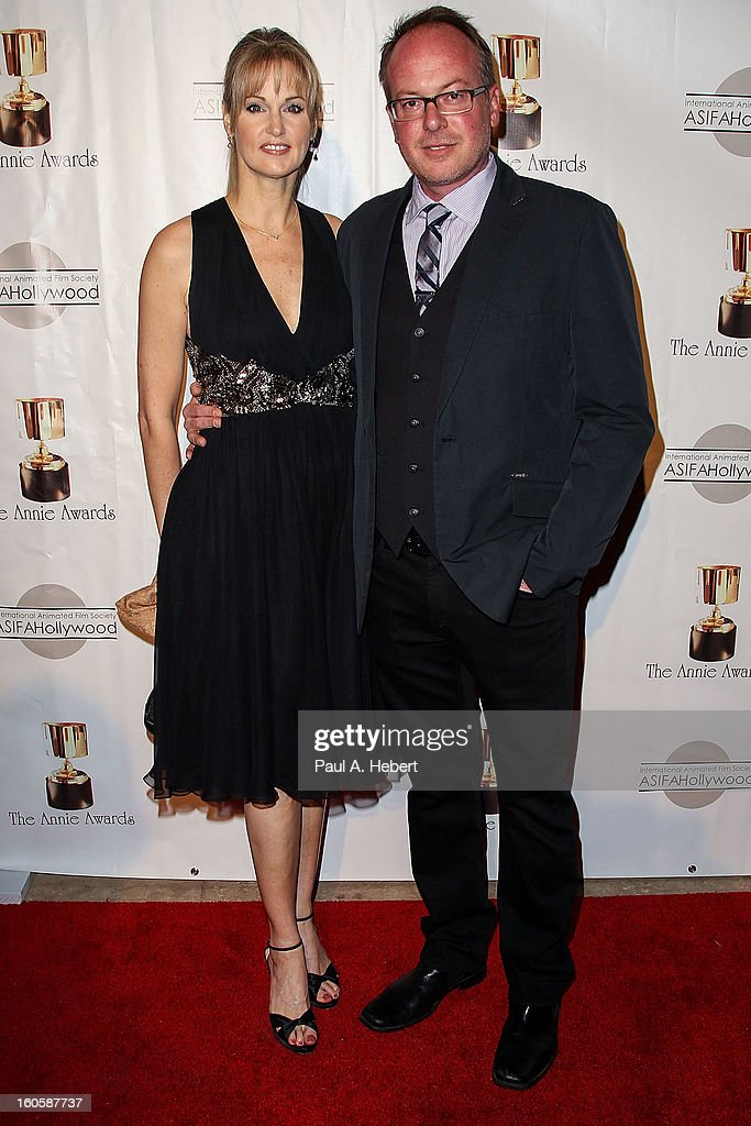 Tom McGrath (R) and guest arrives at the 40th Annual Annie Awards held at Royce Hall on the UCLA Campus on February 2, 2013 in Westwood, California.