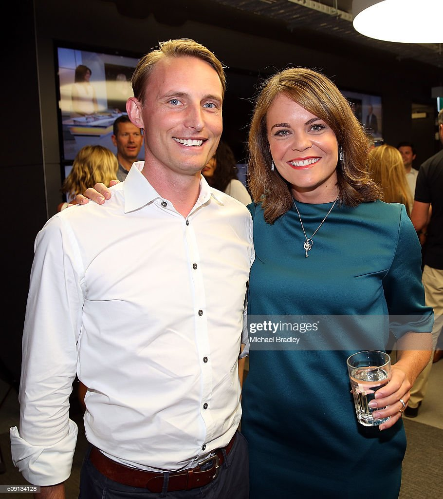 Tom McRae and Heather du Plessis-Allan pose at the launch of Newshub, MediaWorks new cross-platform news service on February 9, 2016 in Auckland, New Zealand.