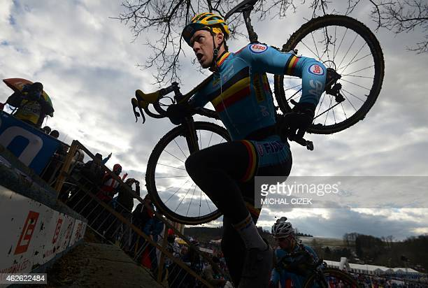 Tom Meeusen of Belgium competes during the Men Elite race at the UCI World cyclocross World championships on February 1 2015 in Tabor Mathieu Van Der...