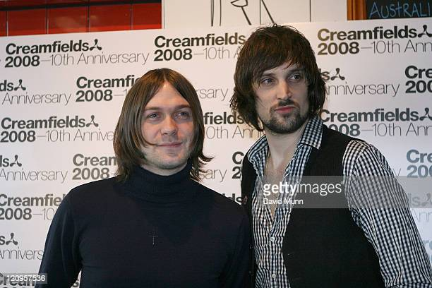 Tom Meighan and Sergio Pizzorno of the Kasabian pose during the launch of Creamfields 2008 in the Korova Bar on March 7 2008 in Liverpool England