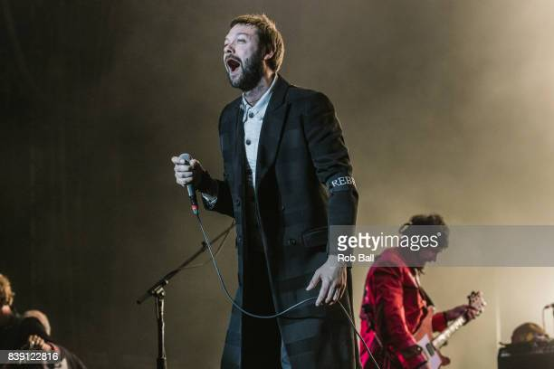 Tom Meighan from Kasabian performs at Reading Festival at Richfield Avenue on August 25 2017 in Reading England