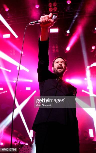 Tom Meighan of Kasabian performs on stage at The Forum on April 18 2017 in London United Kingdom