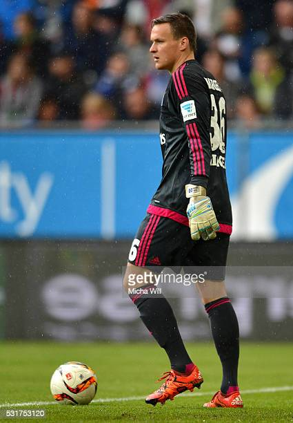 Tom Mickel goalkeeper of Hamburg looks on during the Bundesiga match between FC Augsburg and Hamburger SV at SGL Arena on May 14 2016 in Augsburg...