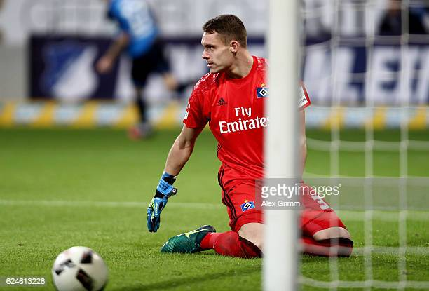 Tom Mickel goalkeeper of Hamburg reacts during the Bundesliga match between TSG 1899 Hoffenheim and Hamburger SV at Wirsol RheinNeckarArena on...