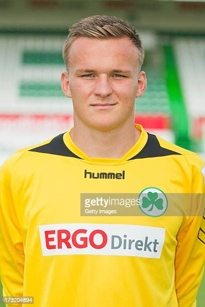 Tom Mickel of Fuerth poses during the Second Bundesliga team presentation of Greuther Fuerth at Trolli Arena on July 8 2013 in Fuerth Germany