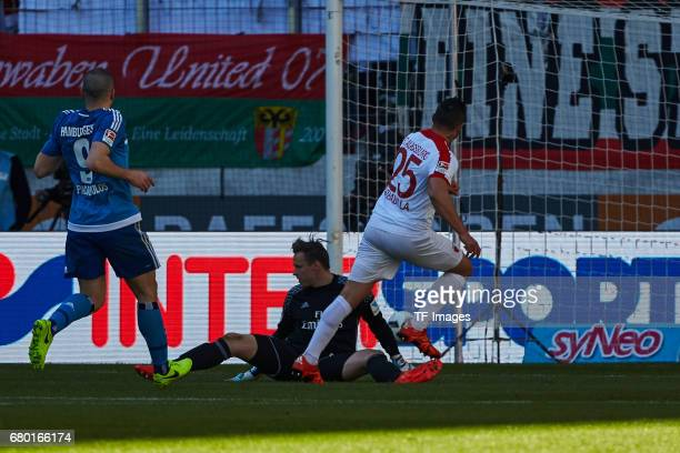 Tom Mickel of Hamburg in action during the Bundesliga match between FC Augsburg and Hamburger SV at WWK Arena on April 30 2017 in Augsburg Germany