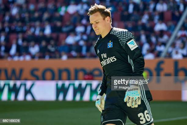 Tom Mickel of Hamburg looks on during the Bundesliga match between FC Augsburg and Hamburger SV at WWK Arena on April 30 2017 in Augsburg Germany