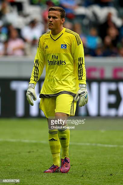 Tom Mickel of Hamburg looks on during the Telekom Cup 2015 final match between Hambruger SV and FC Augsburg at BorussiaPark on July 12 2015 in...