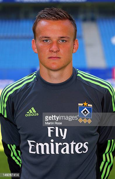 Tom Mickel poses during the team presentation of Hamburger SV at Imtech Arena on July 26 2012 in Hamburg Germany