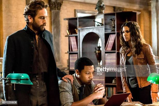 Tom Mison Jerry MacKinnon and Janina Gavankar in theSick Burn episode of SLEEPY HOLLOW airing Friday Feb 24 on FOX