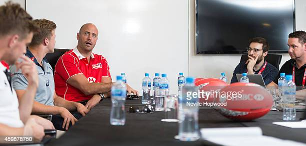 Tom Mitchell Lewis Moody Cameron Clark and Nathan Sharpe attends the HSBC Sevens World Series Media Roundtable on December 3 2014 in Dubai United...