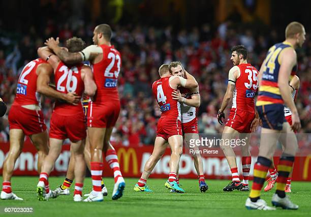 Tom Mitchell of the Swans celebrates a goal during the First AFL Semi Final match between the Sydney Swans and the Adelaide Crows at the Sydney...