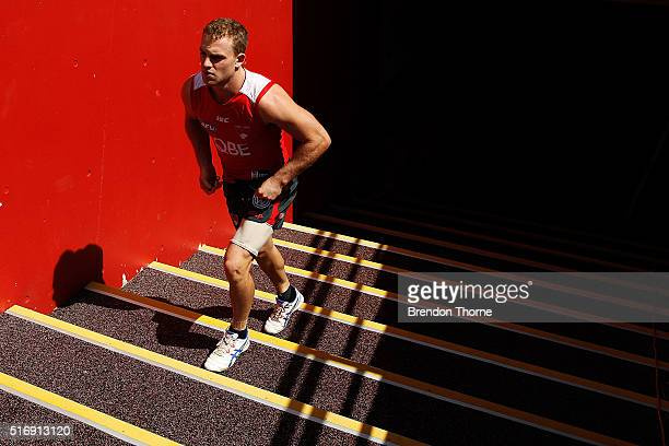 Tom Mitchell of the Swans leaves the dressing room during a Sydney Swans AFL training session at Sydney Cricket Ground on March 22 2016 in Sydney...
