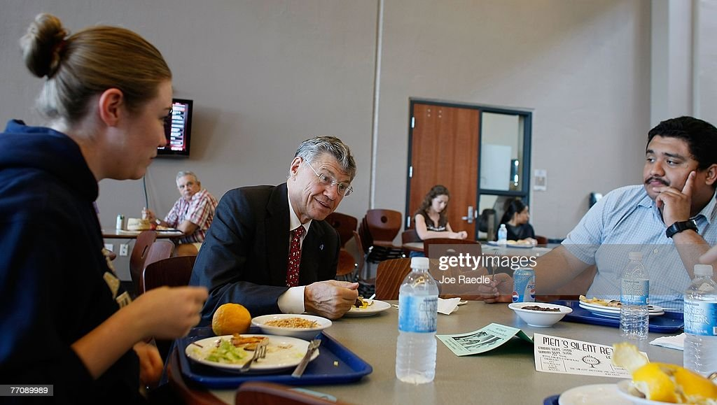Tom Monaghan the multimillionaire founder of Domino's Pizza eats lunch with students at the University of Ava Maria which he founded September 27...