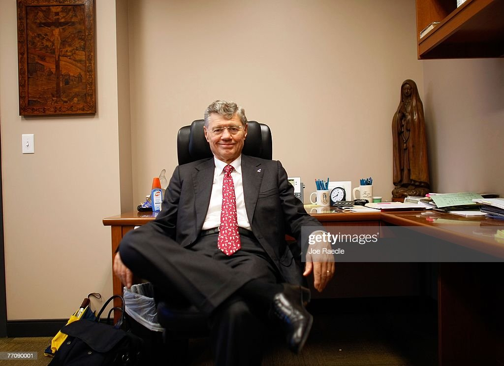 Tom Monaghan the multimillionaire founder of Domino's Pizza in his office on the campus of the University of Ava Maria which he founded September 27...
