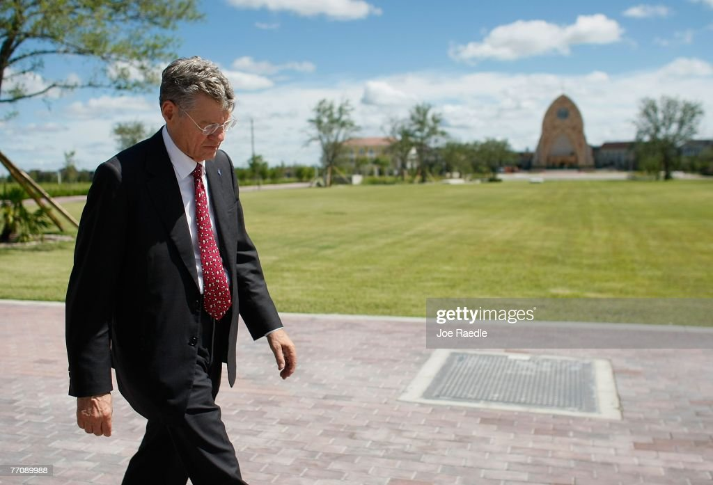 Tom Monaghan the multimillionaire founder of Domino's Pizza walks on the campus of the University of Ava Maria which he founded September 27 2007 in...