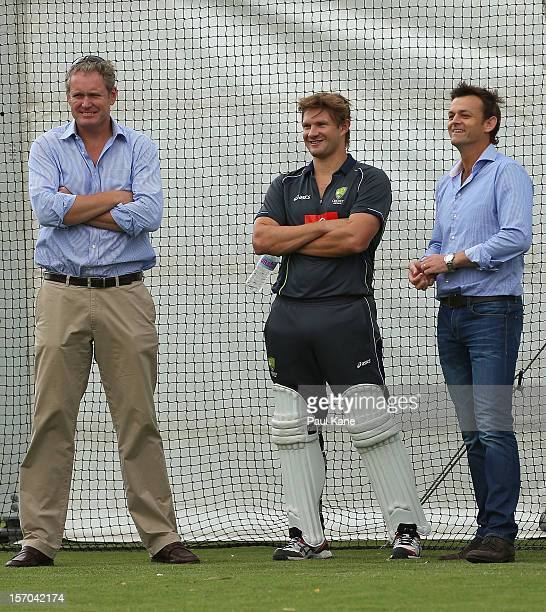 Tom Moody Shane Watson and Adam Gilchrist look on during an Australian training session at WACA on November 28 2012 in Perth Australia