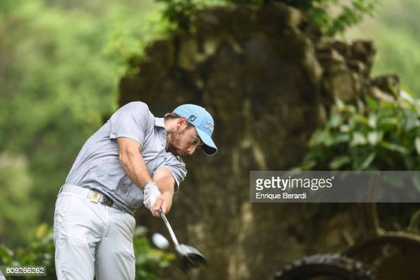 Tom Moore of the United States tees off on the 18th hole during the third round of the PGA TOUR Latinoamerica BMW Jamaica Classic at Cinnamon Hill...