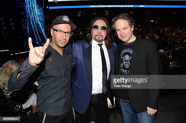 Tom Morello Ace Frehley and Eddie Trunk attend the 29th Annual Rock And Roll Hall Of Fame Induction Ceremony at Barclays Center of Brooklyn on April...